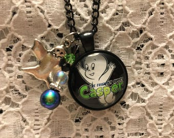 Casper the Friendly Ghost Charm Necklace/Casper the Friendly Ghost/Casper Jewelry/Ghost Jewelry