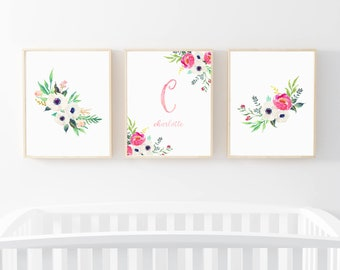 Floral Baby Girl Nursery Prints, Floral Monogram Print, Pink and Green, Blush and Peach, Pretty Floral Nursery Artwork, Printable or Printed