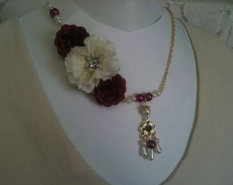 Bridal necklace with eyelet and Pink Flower necklace-ivory/necklace-ivory/Burgundy bordeaux/Burgundy-ivory floral necklace