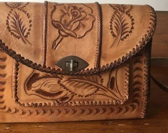 Vintage Hand tooled Mexican leather purse