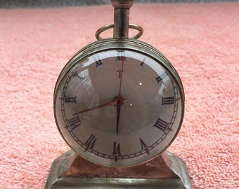 "Case India Clock - Glass Globe / Mantle - Works - Very Good Condition 3.5"" Tall"
