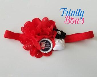 "I'm ""soda"" lightful -  Infant Headband - Flower Headband - Headband - Red - White - Black - Foe - Elastic headband"