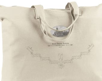 Danvers MA Asylum, Natural Canvas Book Tote Bag,  Kirkbride Insane Asylum, Architectural Decor, Blueprint, Psychiatric State Hospital, Urbex