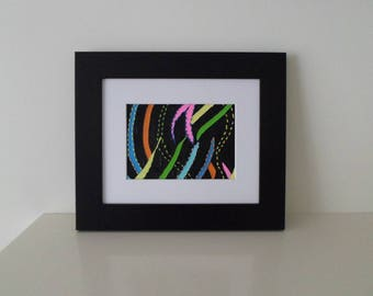 Original Abstract Painting With Embroidery Using Bright Colours on Black Background Ready To Ship