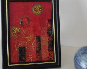Original Artwork Not A Print Housewarming Gift Red Mixed Media Collage Ready To Ship