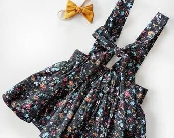 Suspender skirt | Black Sprinkled Floral | RTS