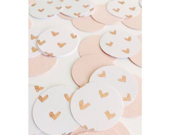 Heart Confetti, Pink and White Confetti