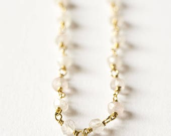Necklace chain silver plated 18 k gold and rose Quartz