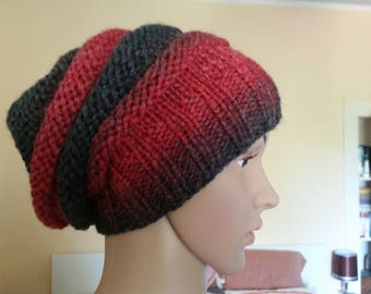 Cool hat in black red gradient, wooly, HipHopmütze, wool hat, Cap, BEANIE,