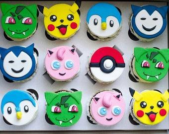 24 psc Pokemon handmade Edible topper cupcake