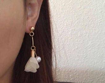 Flower Petal Gold Pearl Stud Earrings Korean Fashion Jewelry