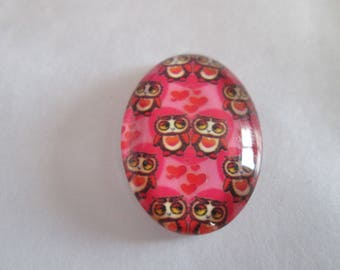 a cabochon glass 25 x 18 mm printed owls in love