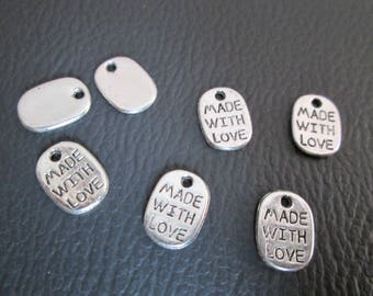 x 10 charms Made With inscription Love 11 x 8 mm color silver