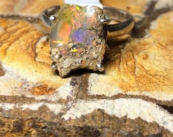 Rough raw Ethiopian welo opal on  sterling silver ring size 8