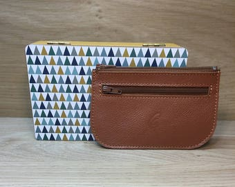 Caramel leather card wallet