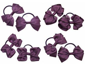 Purple grosgrain ribbon hair bows on thick bobbles, girls purple hair accessories, thick hair elastics, Purple hair decorations, Handmade
