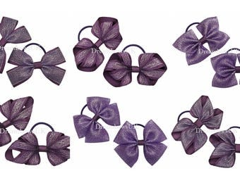 Purple glitter hair bows on thin bobbles, Toddler hair accessories, Glitter hair fashion for little girls, Thin hair elastics and ties