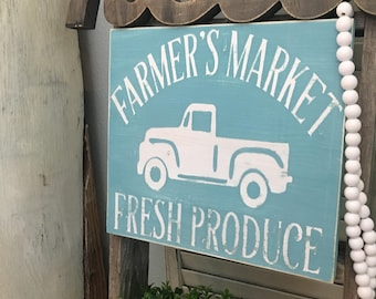 "Farmhouse Decor Wood Sign ""Farmer's Market Fresh Produce"" with a hint of distressed country style with CUSTOMIZED COLORS!"