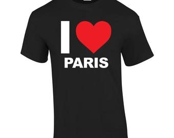 I Love Paris Heart City  Tourist Gift Present T-shirt Mens Womens Tshirt Top Girls(mte_182_paris_mens)