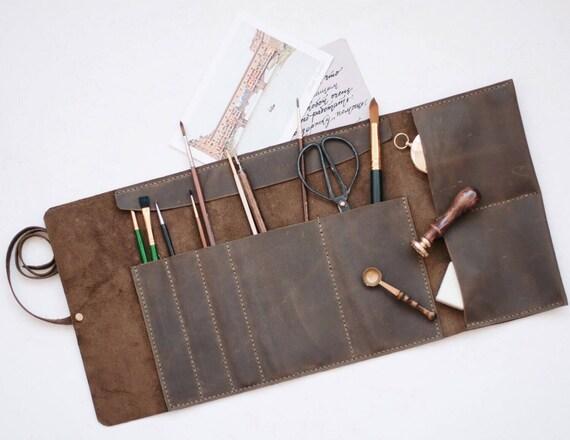 Rouleau de cuir artiste rouleau rouleau de crayon en cuir - Rouleau peinture effet cuir ...