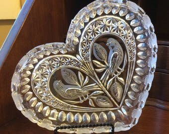 Heart Shaped Dish with Bird Design