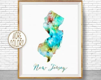 New Jersey State New Jersey Print New Jersey Map Art Print Map Print Map Poster Watercolor Map Office Decor Office Poster ArtPrintZone