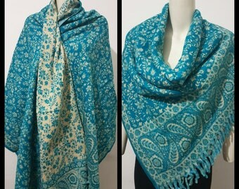 Real wool scarf/himalayan made teal/blueCOLOUR paisley print/floral print ethnic DOUBLE sided scarf/shawl/wrap/blanket,High quality 100%wool