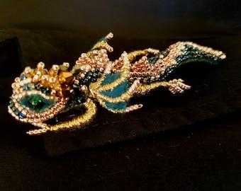 Dragon Brooch Dragon Pin Best gift Green dragon Unique jewelry Unique Brooch Gold dragon Dragon jewelry Dragon accessories