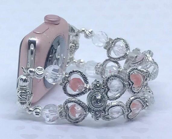 """Apple Watch Band, Women Bead Bracelet Watch Band, iWatch Strap, Apple Watch 38mm, Apple Watch 42mm, Silver Hearts Pink Clear, Size 6 1/2"""""""