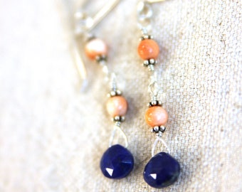 Spiny oyster and lapis earrings