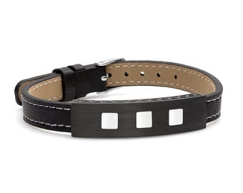 Carbon Fiber with Stainless Steel Inlay Genuine Leather ID Adjustable Bracelet with White Stitching 7-9.5""
