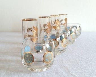 Retro Gold Barware Glasses Set of 8, 4 Tall Etched Gold Shot Glasses, 4 Short Blue and Gold Cocktail Glasses, Vintage 1950 1960 Barware
