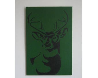 Canvas Stag Head