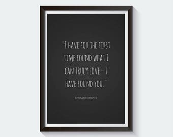 Charlotte Bronte Print   Charlotte Bronte Poster   Jane Eyre Quote   Literary Quotes   Literary Print   Valentine's Day Gift   Romantic