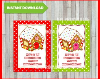 Christmas Printable Gift Tags - Gingerbread house - Instant Download - Type you own text Editable