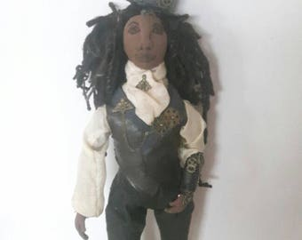 Steampunk art cloth doll with dreadlocks, victorian clothing, soft sculpture made from recycled fabrics