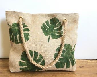 Leaves - burlap tote bag