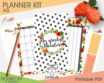 Printable PLANNER KIT - A5 - Daily/Weekly/Monthly, Bookmarks/Dividers, Cover, Contacts, Notes inserts refill + stickers