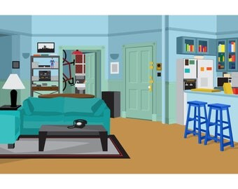 Seinfeld's Apartment - Illustrated Digital Art File - SCALABLE DIGITAL DOWNLOAD