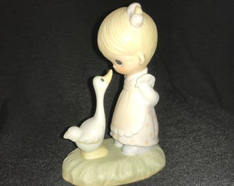 Jonathan and David Precious Moments Enesco Make A Joyful Noise Girl Goose 1978