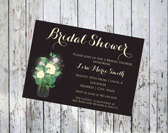 Mason Jar with Flowers Bridal Shower