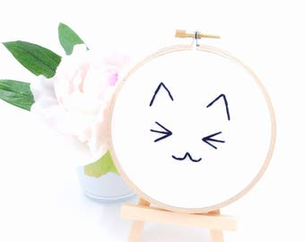 Kitten in a Hoop   Hoop Art   4 Inch   Hand Stitched   Wall Décor