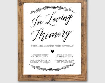 in loving memory printable memorial table wedding memorial, Powerpoint templates