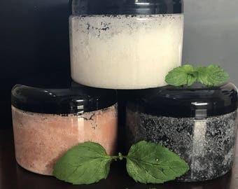 12oz Body Scrub, Hawaiian Black Charcoal Fine Grain Salt, Himalayan Pink Fine Grain Salt, White Fine Grain Salt/Sugar Scrub
