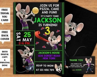Chuck E Cheese Invitation Chuck E Cheese Birthday Printable Invitation+Back Cover Chuck E Cheese Party Printed Invite+FREE Thank You Card