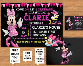 Minnie Mouse Girls Birthday Invitations with FREE Thank You Card