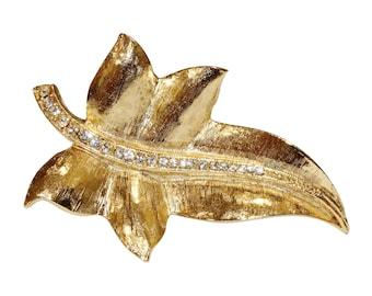 VINTAGE SPHINX brooch - leaf Crystal