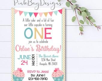 Cupcake Birthday Invitation, Cupcake Invitation, First Birthday Invitation, Cupcake First Birthday, Cake Printable Invitation, Cupcake Party