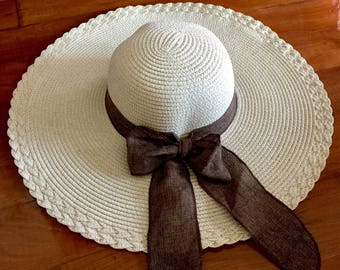 Ribbon Bow Wide Brim Floppy Straw Hat,Oversize Straw Hat,Beach Hat,Straw Hat,Women Sun Hat,Summer Hat,Women's Floppy Hat,Round Top Straw Hat