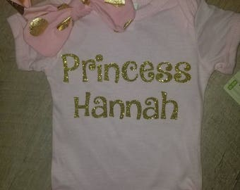 Infant onesie Personalized with name of your choice with headband